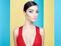Señora con maquillaje colorido Foto de archivo