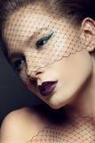 Señora con maquillaje hermoso en un velo Foto de archivo libre de regalías