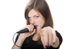 Señora con un micrófono Fotografía de archivo