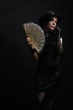 Señora con un ventilador Fotografía de archivo libre de regalías