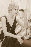 Señora de la aleta con los prismáticos Foto de archivo