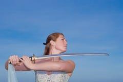 Señora de la espada imagen de archivo