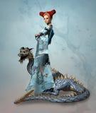 Señora de la fantasía con el dragón Imagen de archivo libre de regalías