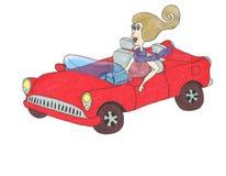 Señora de la historieta en un coche convertible rojo Imagenes de archivo