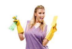 Señora de la limpieza Imagenes de archivo