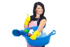 Señora de la limpieza acertada Foto de archivo libre de regalías