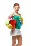 Señora de la limpieza joven Fotografía de archivo libre de regalías