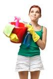 Señora de la limpieza joven Imágenes de archivo libres de regalías