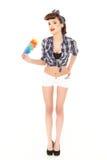 Señora de la limpieza joven imagen de archivo libre de regalías