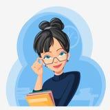 Señora de la oficina con las carpetas en manos Fotografía de archivo