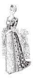 Señora de moda del victorian con el vestido del ventilador y de bola