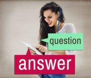 Señora de ruegos y preguntas Casual Concept de la tableta fotografía de archivo