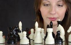 Señora del ajedrez Fotografía de archivo