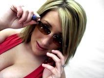 Señora del asunto en el teléfono Fotos de archivo libres de regalías