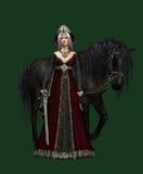 Señora del castillo con el caballo negro, 3d CG CA stock de ilustración