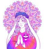 Señora del dolor Dedicación al corazón inmaculado de Virg bendecido stock de ilustración