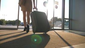 Señora del negocio que va del aeropuerto con su equipaje Mujer en talones que camina con su maleta a través de las puertas de cri almacen de metraje de vídeo
