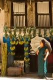 Señora del Nepali con el paraguas fuera de una tienda de la fruta, Katmandu, Nepal Foto de archivo