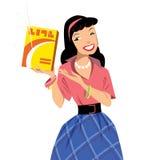 Señora del vintage que sonríe en el anuncio retro que hace publicidad de un shinn Foto de archivo libre de regalías
