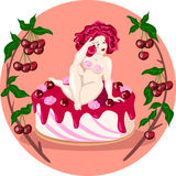 Señora desnuda gorda que se sienta en una torta de la cereza Ilustración del vector Imágenes de archivo libres de regalías