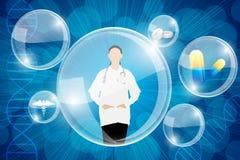 Señora Doctor en fondo médico Foto de archivo