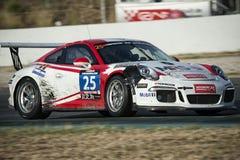SEÑORA el GT-competir con del equipo Porsche 991 tazas 24 horas de Barcelona Fotos de archivo