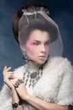 Señora elegante en un abrigo de pieles con un velo Foto de archivo