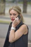 Señora elegante que hace llamada de teléfono Imagen de archivo