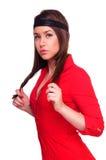 Señora en alineada roja imágenes de archivo libres de regalías