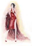 Señora en alineada roja Foto de archivo libre de regalías
