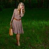 Señora en bosque Foto de archivo libre de regalías