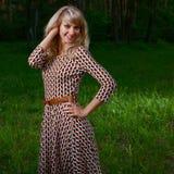 Señora en bosque Foto de archivo