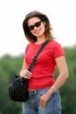 Señora en camiseta roja Fotos de archivo libres de regalías