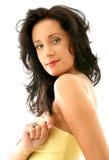 Señora en corsé amarillo Imagen de archivo libre de regalías