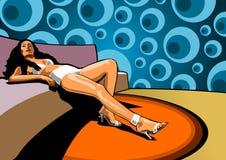 Señora en el salón stock de ilustración