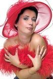 Señora en el sombrero rojo embrassing Imágenes de archivo libres de regalías