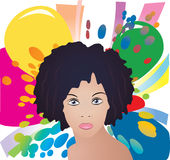Señora en fondo del color Foto de archivo