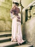 Señora en las escaleras Imágenes de archivo libres de regalías