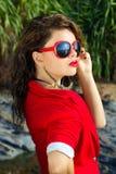 Señora en rojo Fotografía de archivo