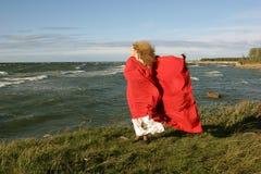 Señora en rojo Fotos de archivo
