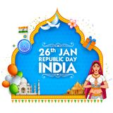 Señora en sari tricolora de la bandera india para el día feliz de la república del 26 de enero de la India stock de ilustración