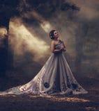 Señora en un vestido púrpura enorme de lujo fotografía de archivo libre de regalías