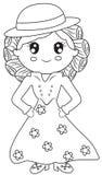 Señora en una página del colorante del vestido Fotografía de archivo libre de regalías