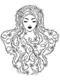 Señora encantadora con el pelo floral Fotografía de archivo libre de regalías