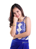 Señora encantadora en ropa de sport azul Foto de archivo