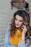 Señora encantadora que habla en el teléfono Imágenes de archivo libres de regalías