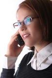 Señora femenina del asunto en el teléfono Imagen de archivo