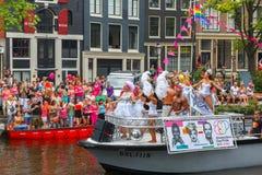 Señora Galore en el desfile famoso del canal de Amsterdam Imagenes de archivo