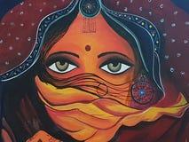 Señora hermosa de Rajasthani con la bufanda Foto de archivo