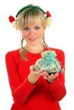 Señora hermosa del invierno con el regalo Imágenes de archivo libres de regalías